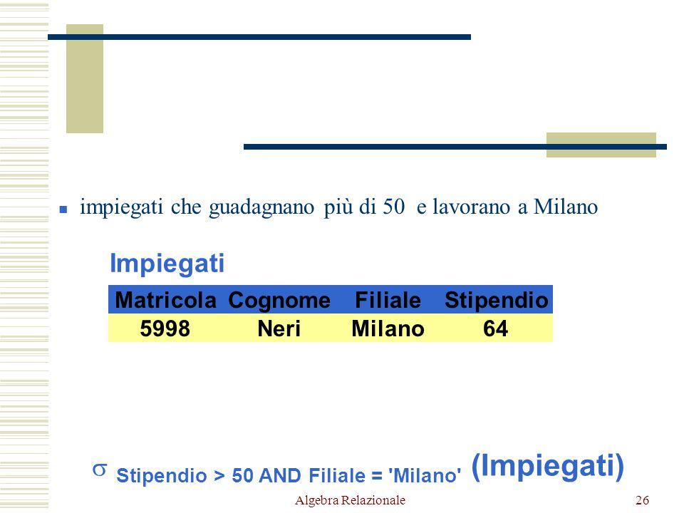 Algebra Relazionale26 Impiegati CognomeFilialeStipendioMatricola NeriMilano645998 RossiRoma557309 NeriNapoli645698 Milano 449553 impiegati che guadagnano più di 50 e lavorano a Milano  Stipendio > 50 AND Filiale = Milano (Impiegati) RossiRoma557309 NeriNapoli645698 Milano 449553 NeriMilano645998