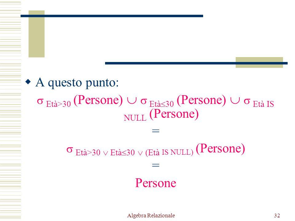 Algebra Relazionale32  A questo punto:  Età>30 (Persone)   Età  30 (Persone)   Età IS NULL (Persone) =  Età>30  Età  30  (Età IS NULL) (Per