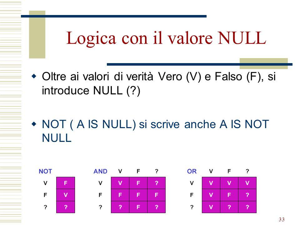 Algebra Relazionale33 Logica con il valore NULL  Oltre ai valori di verità Vero (V) e Falso (F), si introduce NULL (?)  NOT ( A IS NULL) si scrive a