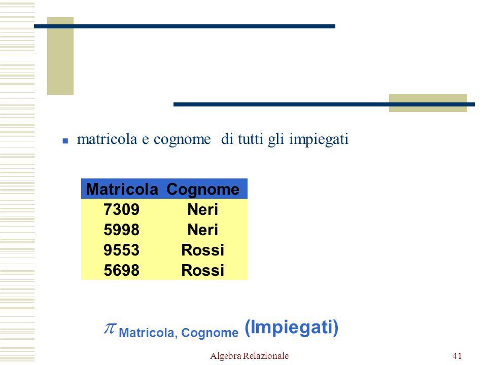 Algebra Relazionale41 CognomeFilialeStipendioMatricola NeriMilano645998 NeriNapoli557309 RossiRoma645698 RossiRoma449553 matricola e cognome di tutti