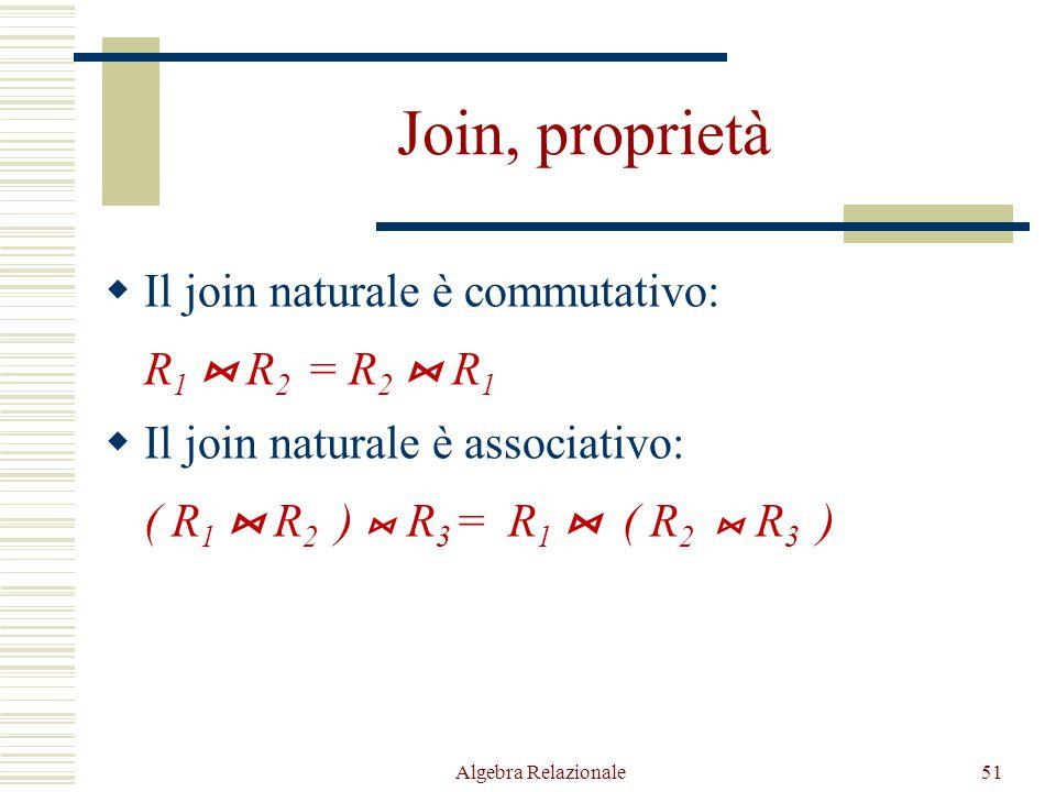 Algebra Relazionale51 Join, proprietà  Il join naturale è commutativo: R 1  R 2 = R 2  R 1  Il join naturale è associativo: ( R 1  R 2 )  R 3 = R 1  ( R 2  R 3 )