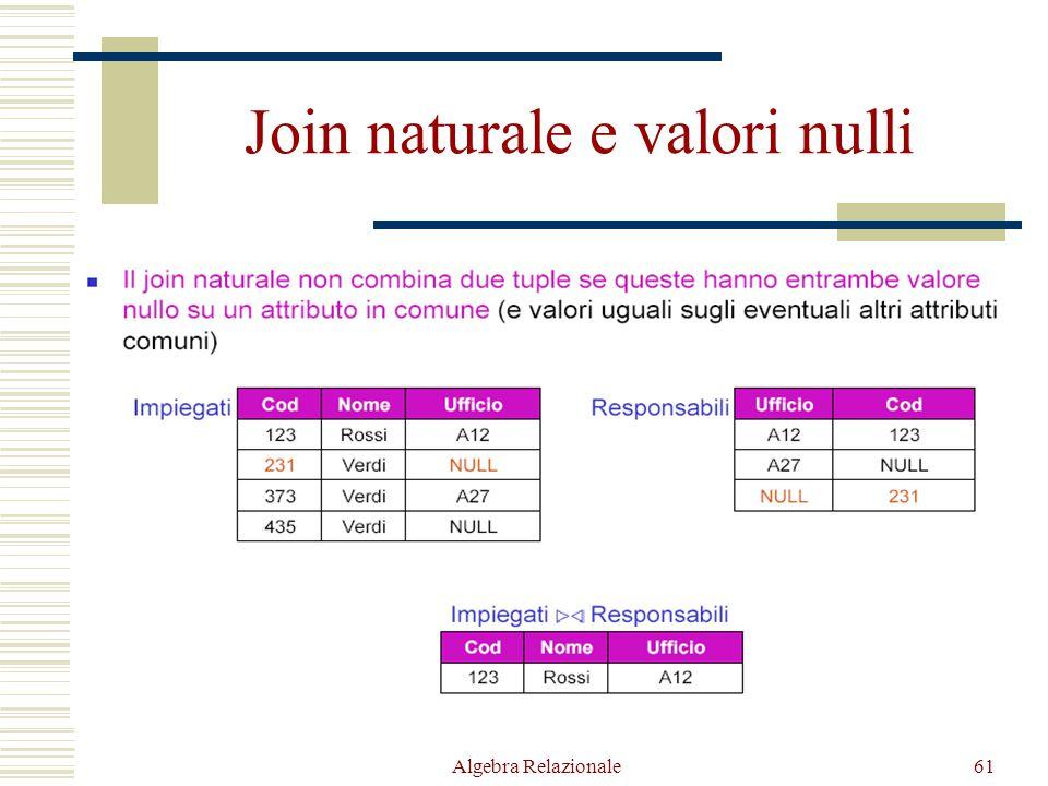 Algebra Relazionale61 Join naturale e valori nulli