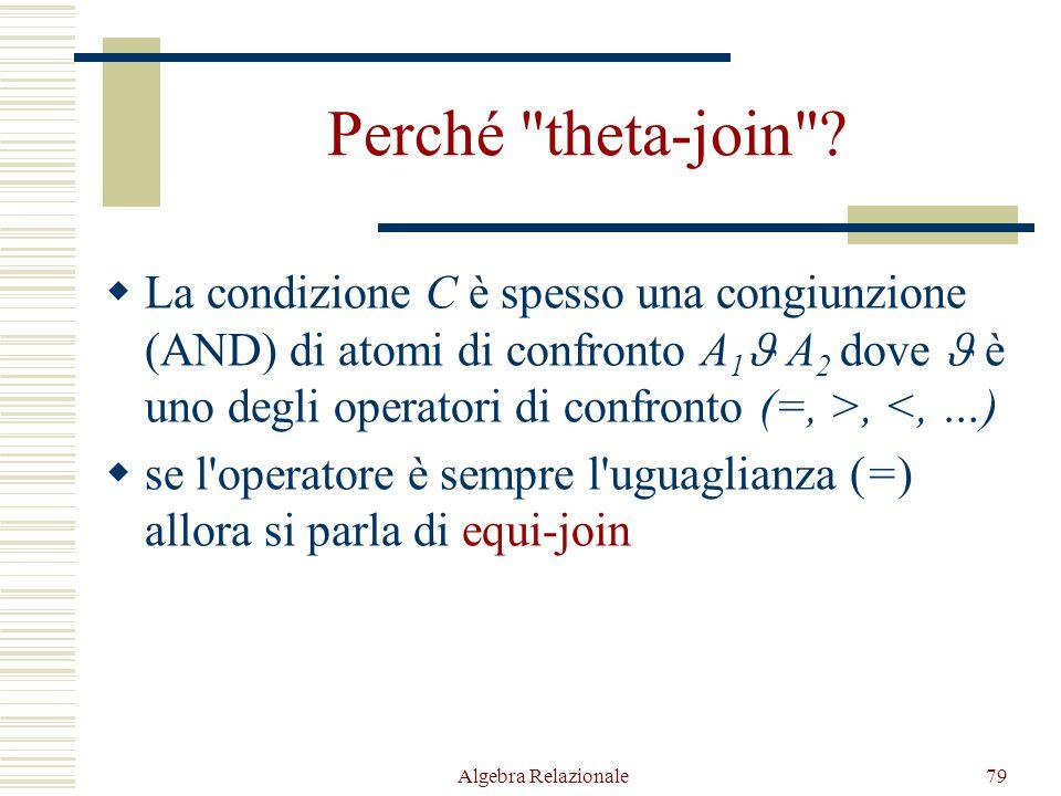 Algebra Relazionale79 Perché theta-join .