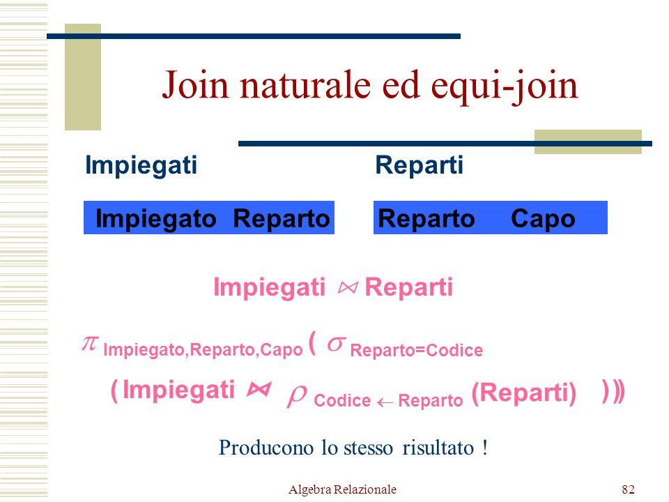 Algebra Relazionale82 Join naturale ed equi-join ImpiegatoReparto Impiegati RepartoCapo Reparti Impiegati  Reparti  Impiegato,Reparto,Capo ( )  Cod