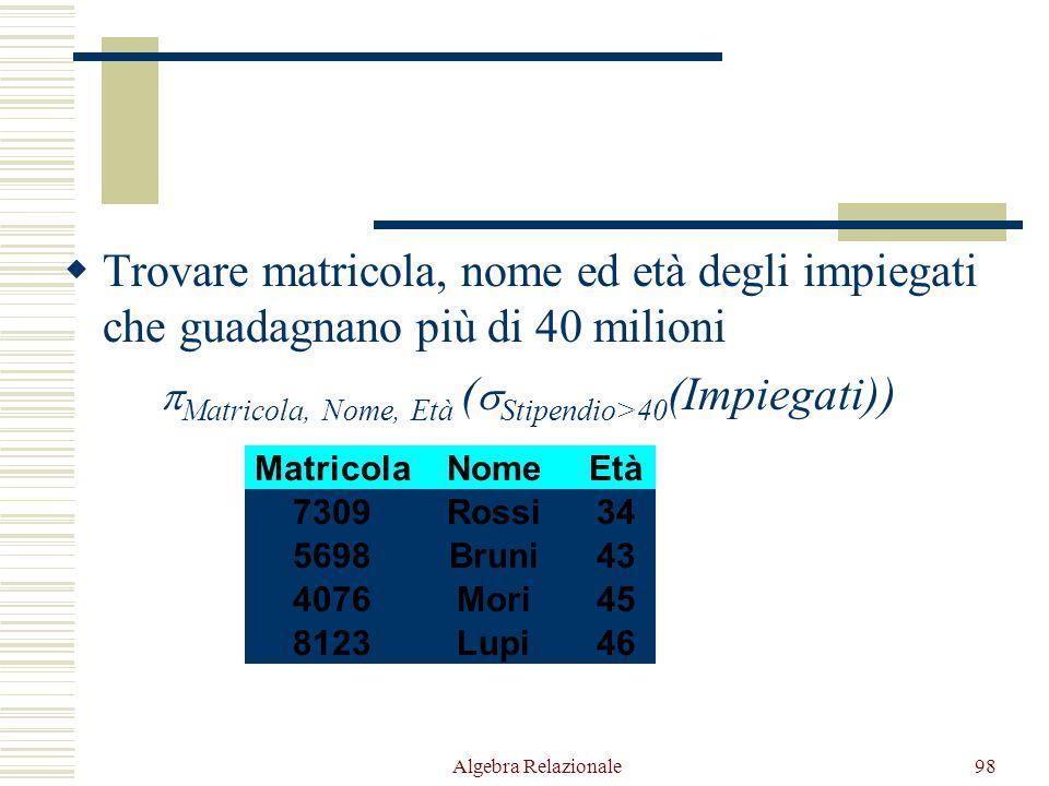 Algebra Relazionale98  Trovare matricola, nome ed età degli impiegati che guadagnano più di 40 milioni  Matricola, Nome, Età (  Stipendio>40 (Impiegati)) NomeEtàStipendioMatricola Bianchi37385998 Rossi34457309 Bruni43425698 Neri42359553 Mori45504076 Lupi46608123 Bianchi37385998 Neri42359553 Rossi34457309 Bruni43425698 Mori45504076 Lupi46608123 Rossi34457309 Bruni43425698 Mori45504076 Lupi46608123