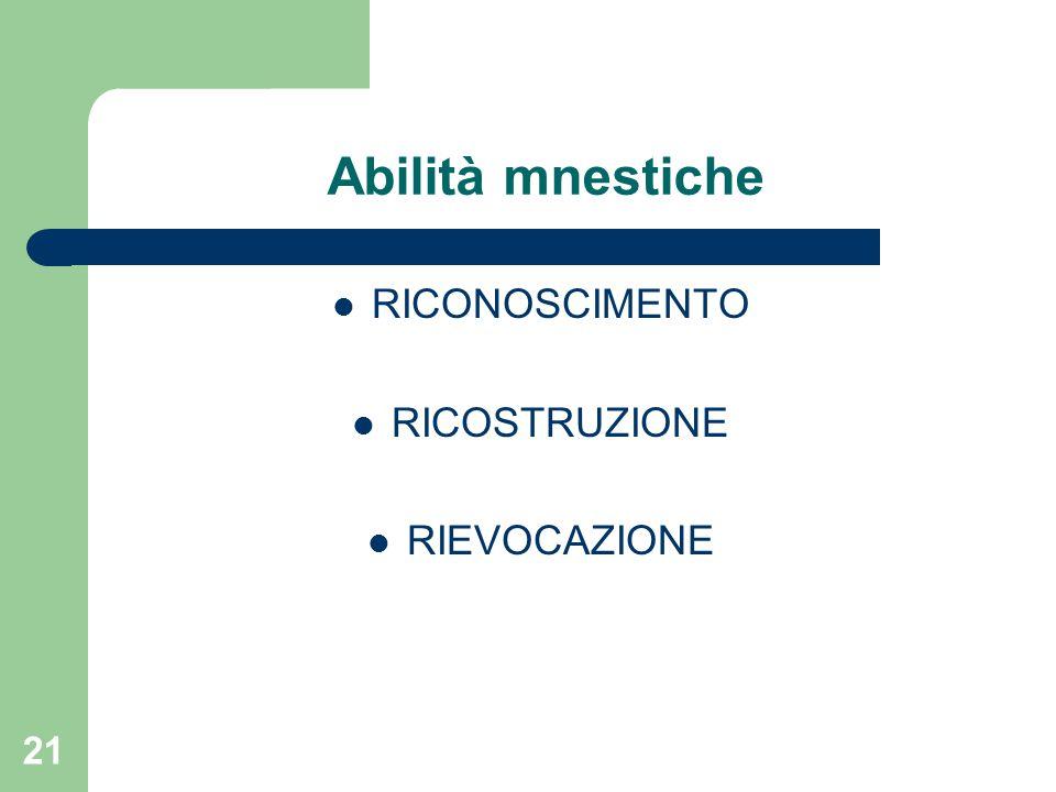 Abilità mnestiche RICONOSCIMENTO RICOSTRUZIONE RIEVOCAZIONE 21