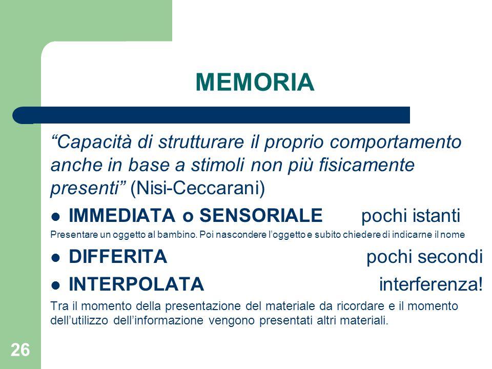 """MEMORIA """"Capacità di strutturare il proprio comportamento anche in base a stimoli non più fisicamente presenti"""" (Nisi-Ceccarani) IMMEDIATA o SENSORIAL"""
