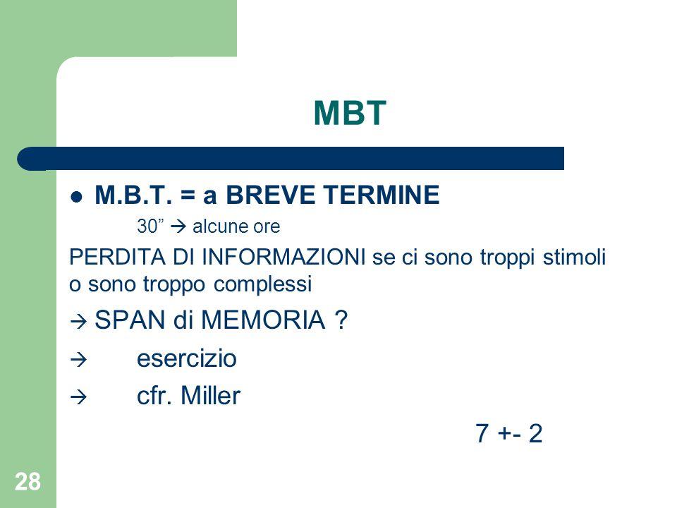 """MBT M.B.T. = a BREVE TERMINE 30""""  alcune ore PERDITA DI INFORMAZIONI se ci sono troppi stimoli o sono troppo complessi  SPAN di MEMORIA ?  esercizi"""