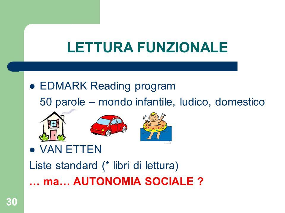 LETTURA FUNZIONALE EDMARK Reading program 50 parole – mondo infantile, ludico, domestico VAN ETTEN Liste standard (* libri di lettura) … ma… AUTONOMIA