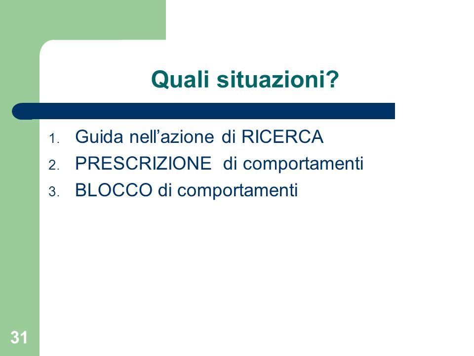 Quali situazioni? 1. Guida nell'azione di RICERCA 2. PRESCRIZIONE di comportamenti 3. BLOCCO di comportamenti 31
