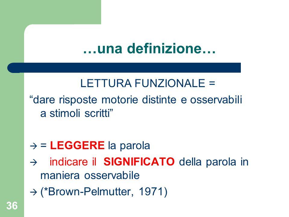 """…una definizione… LETTURA FUNZIONALE = """"dare risposte motorie distinte e osservabili a stimoli scritti""""  = LEGGERE la parola  indicare il SIGNIFICAT"""