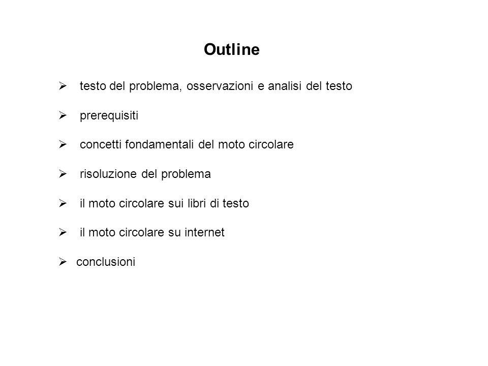 Outline  testo del problema, osservazioni e analisi del testo  prerequisiti  concetti fondamentali del moto circolare  risoluzione del problema 