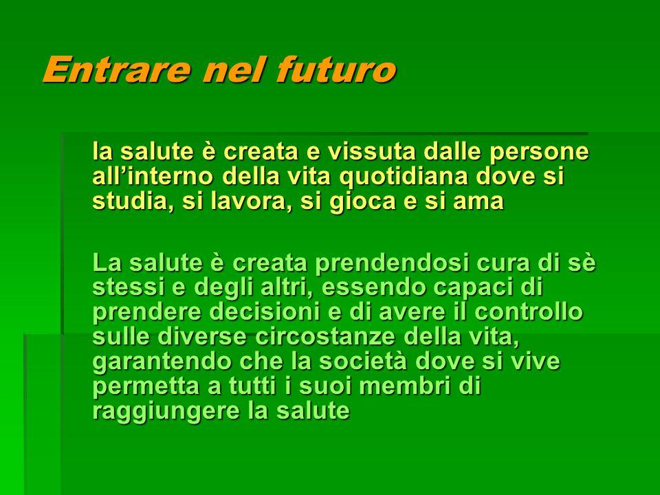 Entrare nel futuro la salute è creata e vissuta dalle persone all'interno della vita quotidiana dove si studia, si lavora, si gioca e si ama La salute
