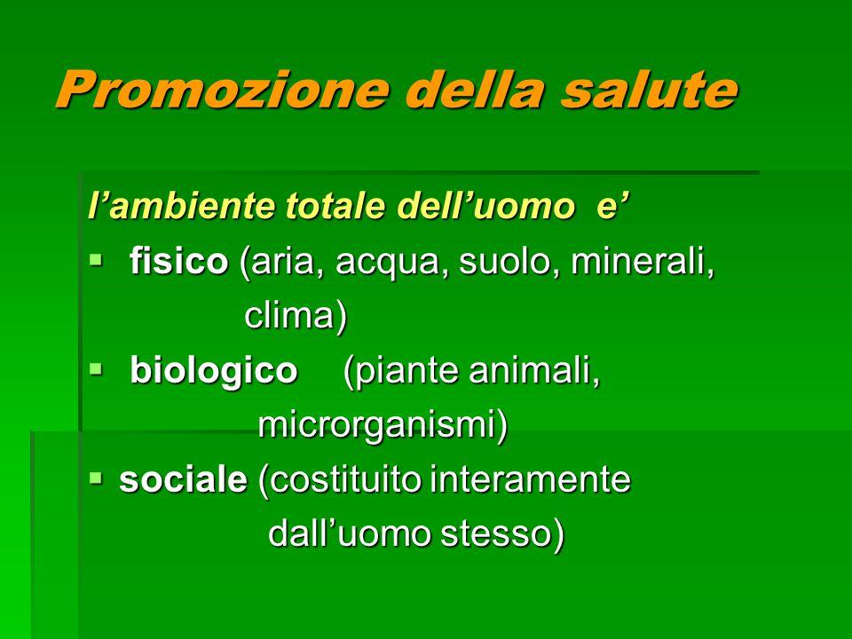Promozione della salute l'ambiente totale dell'uomo e'  fisico (aria, acqua, suolo, minerali, clima) clima)  biologico (piante animali, microrganismi)  sociale(costituito interamente dall'uomo stesso) dall'uomo stesso)