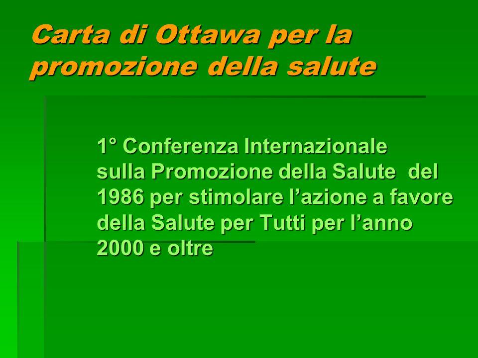 Carta di Ottawa per la promozione della salute 1° Conferenza Internazionale sulla Promozione della Salute del 1986 per stimolare l'azione a favore del