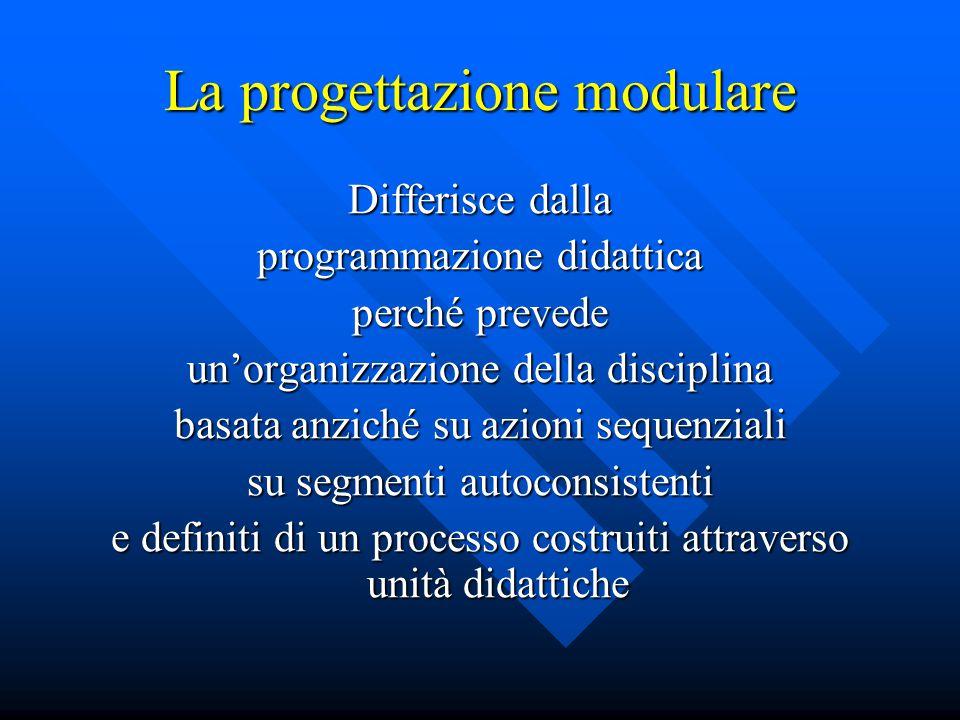 La progettazione modulare Differisce dalla programmazione didattica perché prevede un'organizzazione della disciplina basata anziché su azioni sequenz