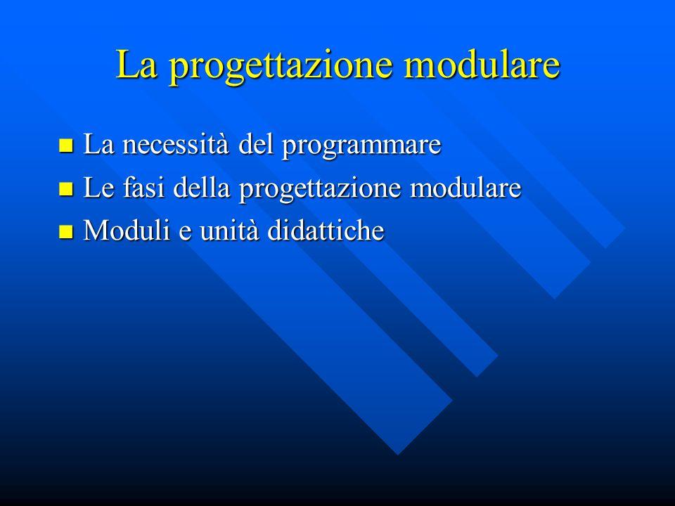 La progettazione modulare La necessità del programmare La necessità del programmare Le fasi della progettazione modulare Le fasi della progettazione m