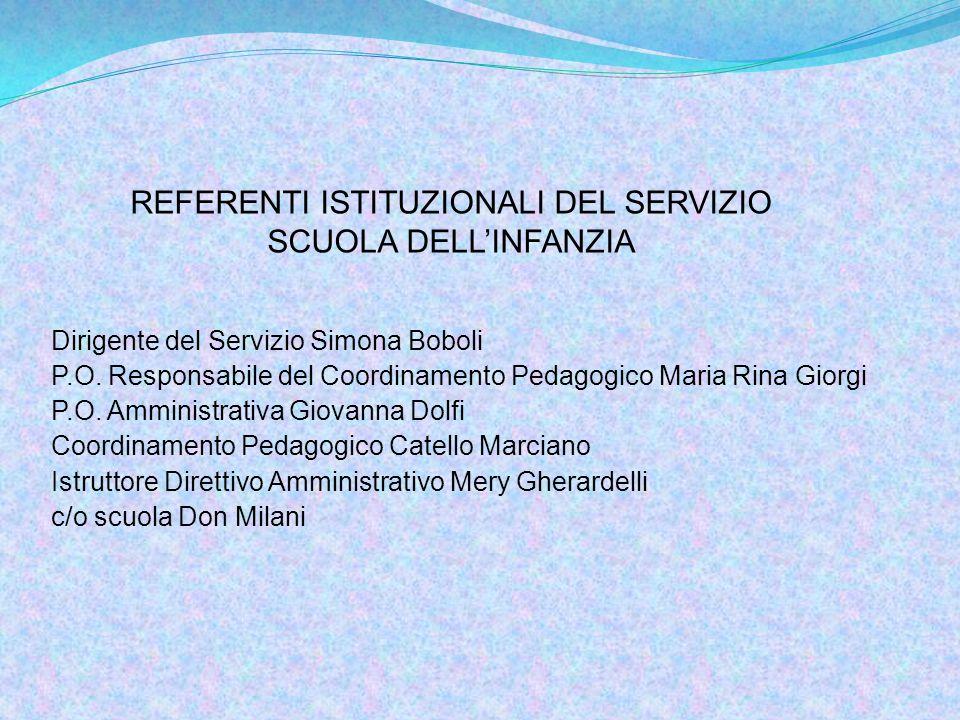 Dirigente del Servizio Simona Boboli P.O. Responsabile del Coordinamento Pedagogico Maria Rina Giorgi P.O. Amministrativa Giovanna Dolfi Coordinamento