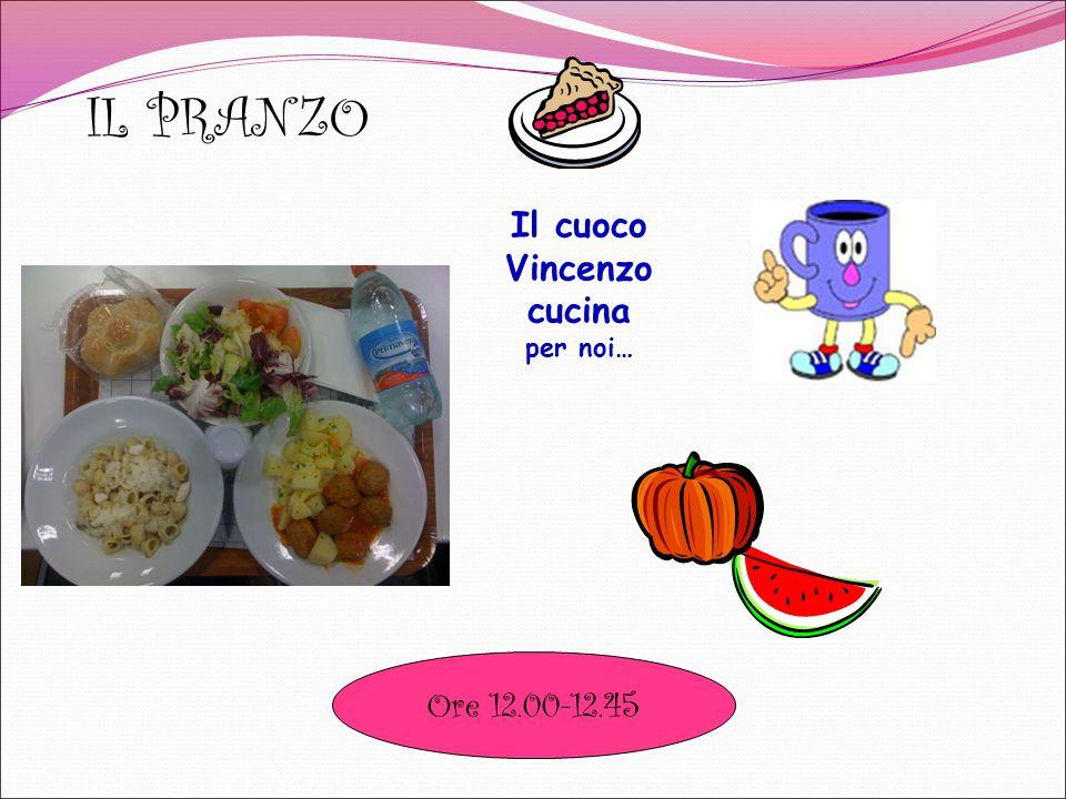 IL PRANZO Il cuoco Vincenzo cucina per noi… Ore 12.00-12.45