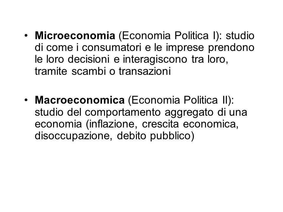Microeconomia (Economia Politica I): studio di come i consumatori e le imprese prendono le loro decisioni e interagiscono tra loro, tramite scambi o transazioni Macroeconomica (Economia Politica II): studio del comportamento aggregato di una economia (inflazione, crescita economica, disoccupazione, debito pubblico)