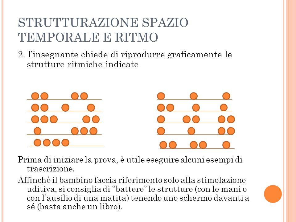 STRUTTURAZIONE SPAZIO TEMPORALE E RITMO 2. l'insegnante chiede di riprodurre graficamente le strutture ritmiche indicate Prima di iniziare la prova, è