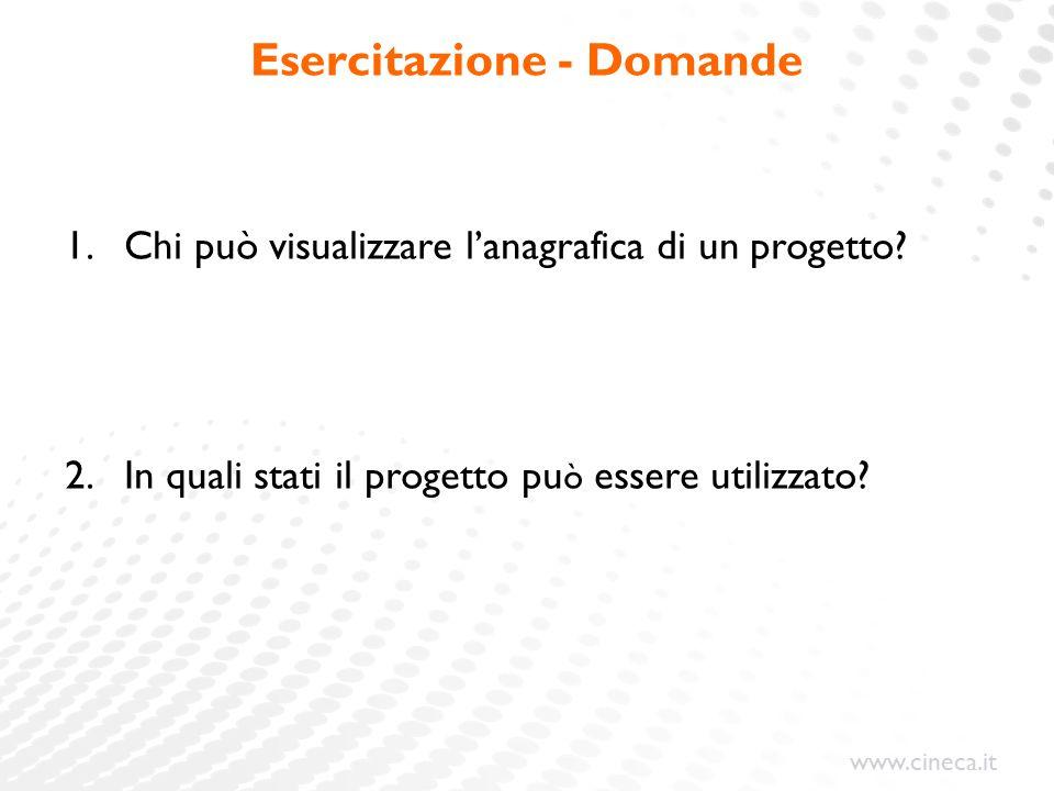 www.cineca.it Esercitazione - Domande 1.Chi può visualizzare l'anagrafica di un progetto.