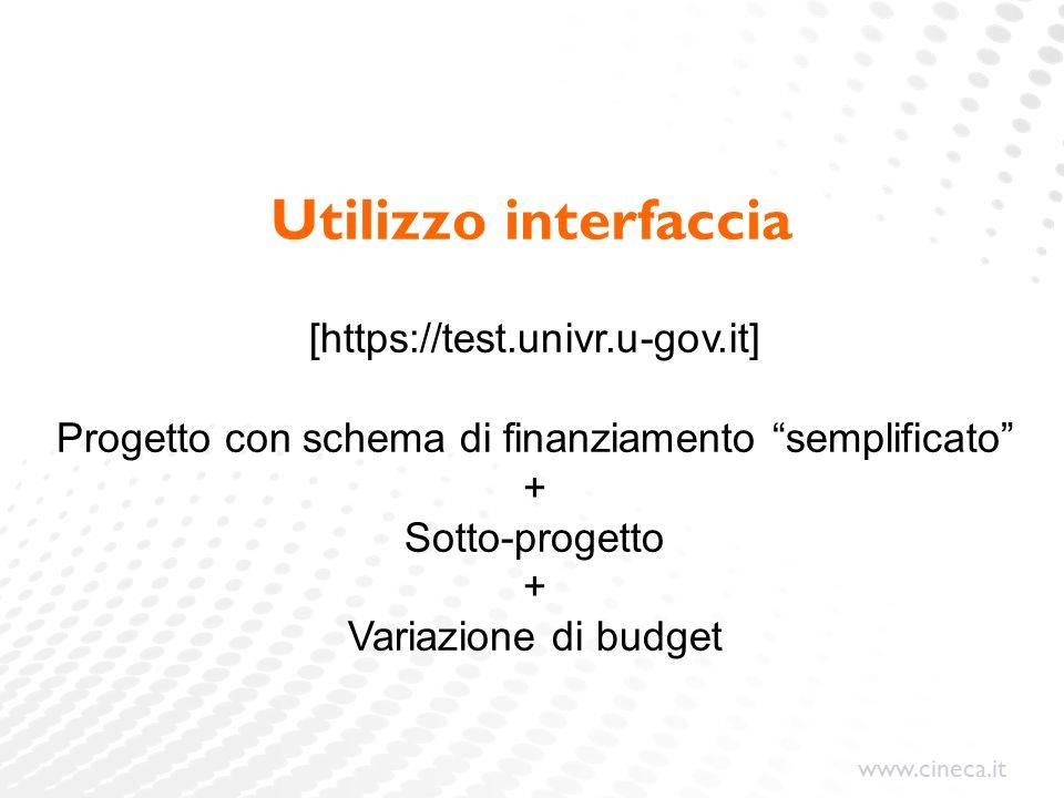 www.cineca.it Utilizzo interfaccia [https://test.univr.u-gov.it] Progetto con schema di finanziamento semplificato + Sotto-progetto + Variazione di budget