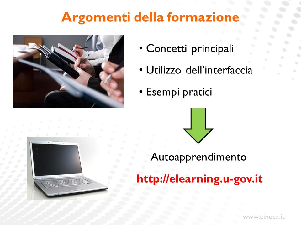 www.cineca.it Argomenti della formazione Concetti principali Utilizzo dell'interfaccia Esempi pratici Autoapprendimento http://elearning.u-gov.it