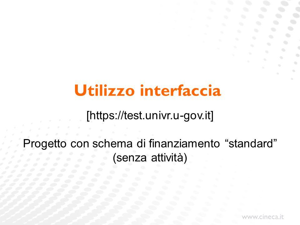 www.cineca.it Utilizzo interfaccia [https://test.univr.u-gov.it] Progetto con schema di finanziamento standard (senza attività)