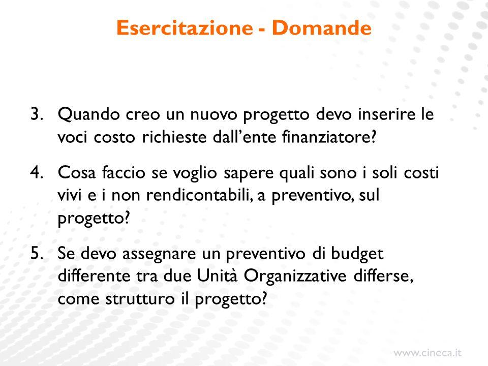 www.cineca.it Esercitazione - Domande 3.Quando creo un nuovo progetto devo inserire le voci costo richieste dall'ente finanziatore.