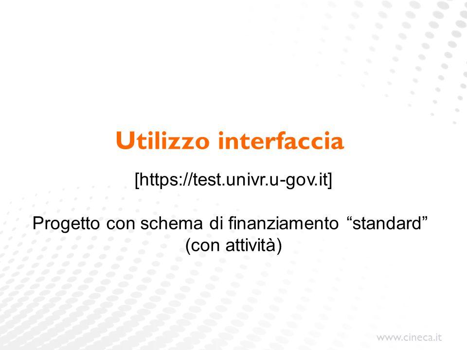 www.cineca.it Utilizzo interfaccia [https://test.univr.u-gov.it] Progetto con schema di finanziamento standard (con attività)