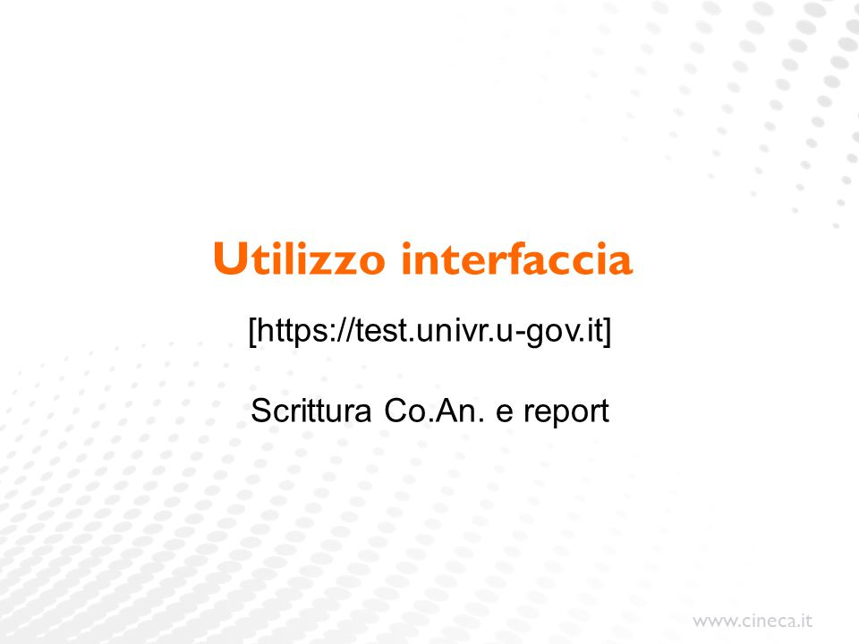 www.cineca.it Utilizzo interfaccia [https://test.univr.u-gov.it] Scrittura Co.An. e report