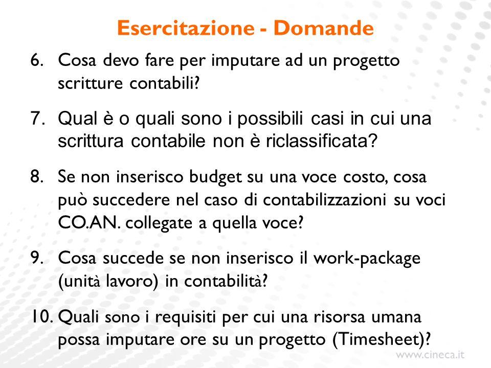 www.cineca.it Esercitazione - Domande 6.Cosa devo fare per imputare ad un progetto scritture contabili.