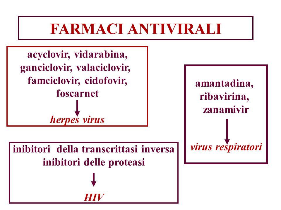 FARMACI ANTIVIRALI acyclovir, vidarabina, ganciclovir, valaciclovir, famciclovir, cidofovir, foscarnet herpes virus amantadina, ribavirina, zanamivir