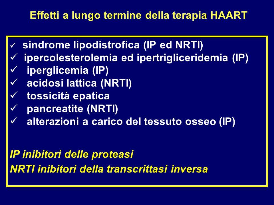 sindrome lipodistrofica (IP ed NRTI) ipercolesterolemia ed ipertrigliceridemia (IP) iperglicemia (IP) acidosi lattica (NRTI) tossicità epatica pancrea