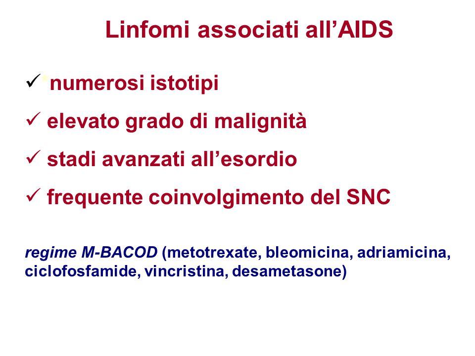 *numerosi istotipi elevato grado di malignità stadi avanzati all'esordio frequente coinvolgimento del SNC regime M-BACOD (metotrexate, bleomicina, adr