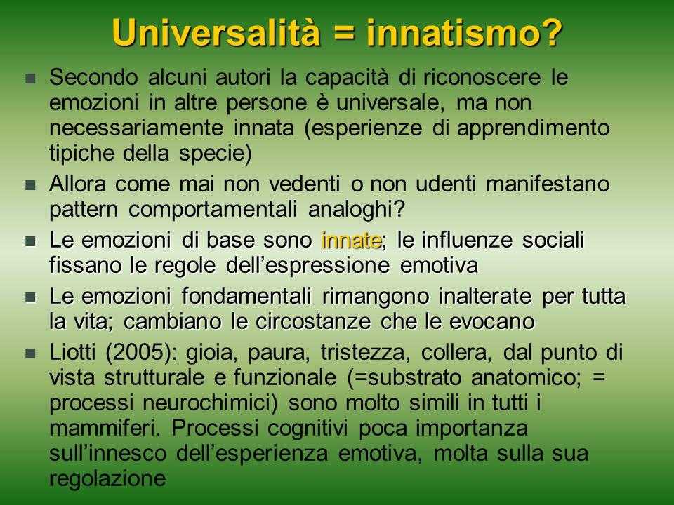 Universalità = innatismo? Secondo alcuni autori la capacità di riconoscere le emozioni in altre persone è universale, ma non necessariamente innata (e