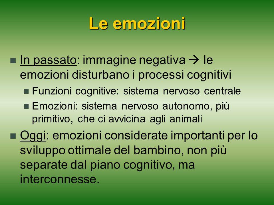 In passato: immagine negativa  le emozioni disturbano i processi cognitivi Funzioni cognitive: sistema nervoso centrale Emozioni: sistema nervoso aut