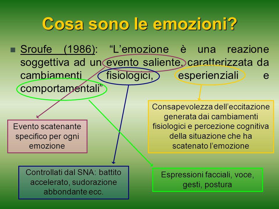 """Sroufe (1986): """"L'emozione è una reazione soggettiva ad un evento saliente, caratterizzata da cambiamenti fisiologici, esperienziali e comportamentali"""