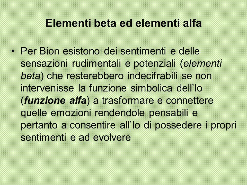 Elementi beta ed elementi alfa Per Bion esistono dei sentimenti e delle sensazioni rudimentali e potenziali (elementi beta) che resterebbero indecifrabili se non intervenisse la funzione simbolica dell'Io (funzione alfa) a trasformare e connettere quelle emozioni rendendole pensabili e pertanto a consentire all'Io di possedere i propri sentimenti e ad evolvere