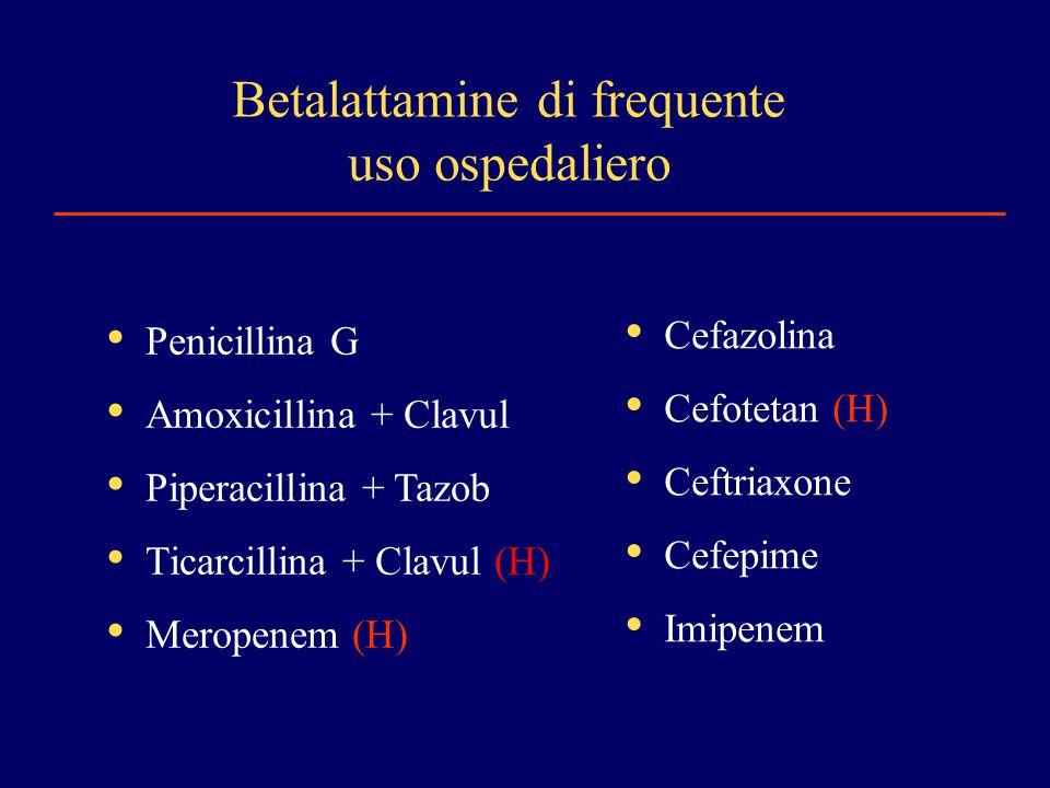 Betalattamine di frequente uso ospedaliero Penicillina G Amoxicillina + Clavul Piperacillina + Tazob Ticarcillina + Clavul (H) Meropenem (H) Cefazolina Cefotetan (H) Ceftriaxone Cefepime Imipenem