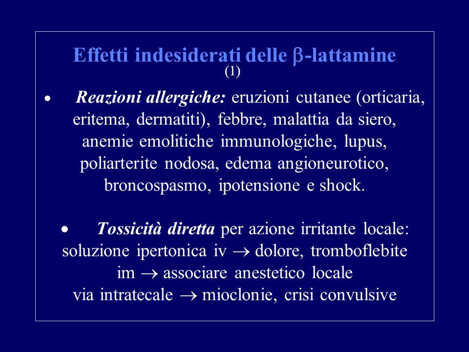 Effetti indesiderati delle  -lattamine (1)  Reazioni allergiche: eruzioni cutanee (orticaria, eritema, dermatiti), febbre, malattia da siero, anemie