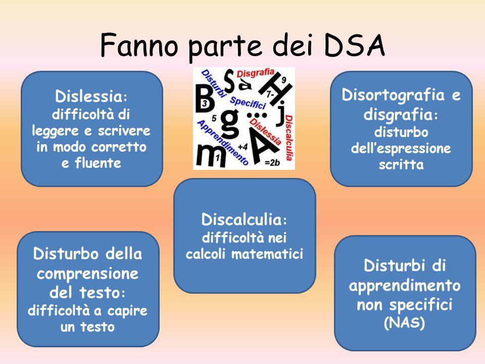 Fanno parte dei DSA Disortografia e disgrafia : disturbo dell'espressione scritta Dislessia : difficoltà di leggere e scrivere in modo corretto e flue