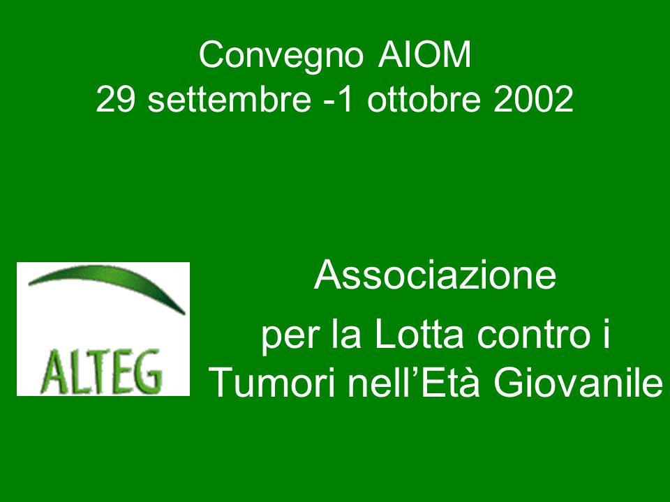 Associazione per la Lotta contro i Tumori nell'Età Giovanile Convegno AIOM 29 settembre -1 ottobre 2002