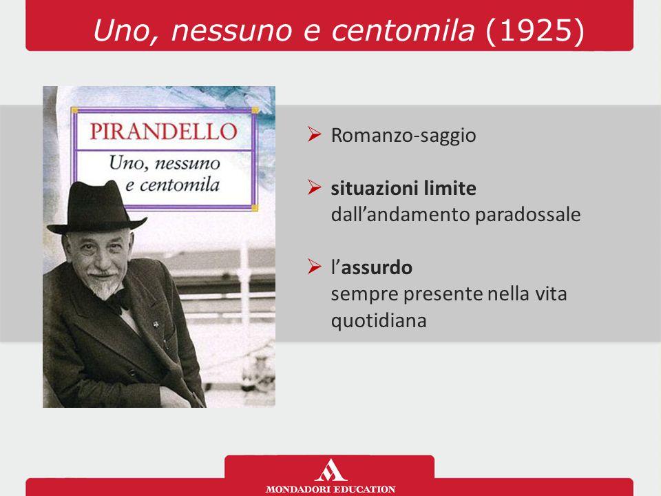 Uno, nessuno e centomila (1925)  Romanzo-saggio  situazioni limite dall'andamento paradossale  l'assurdo sempre presente nella vita quotidiana