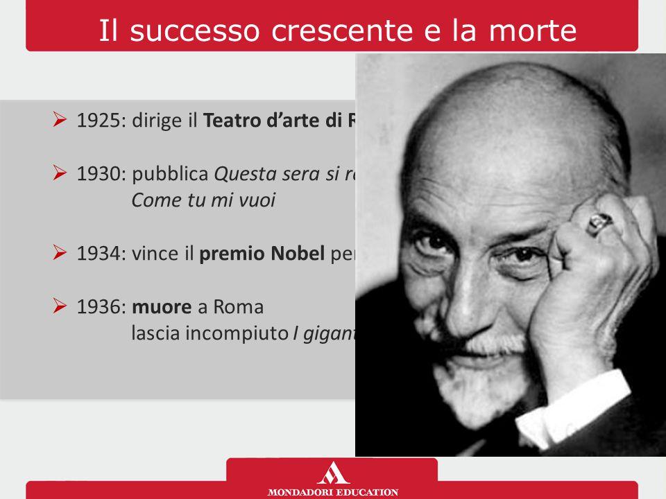 Il successo crescente e la morte  1925: dirige il Teatro d'arte di Roma  1930: pubblica Questa sera si recita a soggetto e Come tu mi vuoi  1934: v