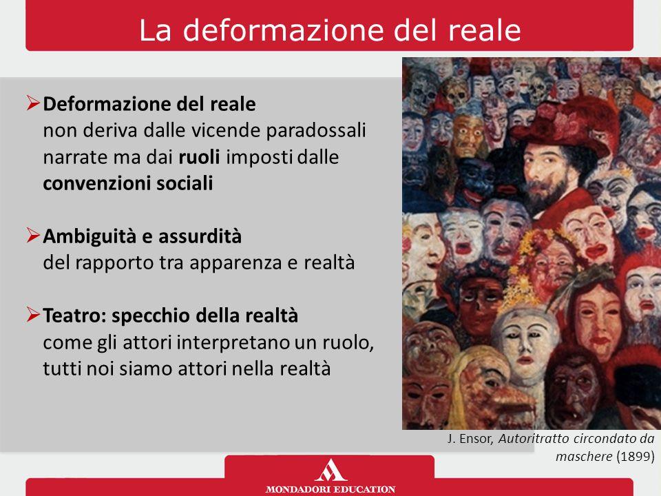 La deformazione del reale  Deformazione del reale non deriva dalle vicende paradossali narrate ma dai ruoli imposti dalle convenzioni sociali  Ambig