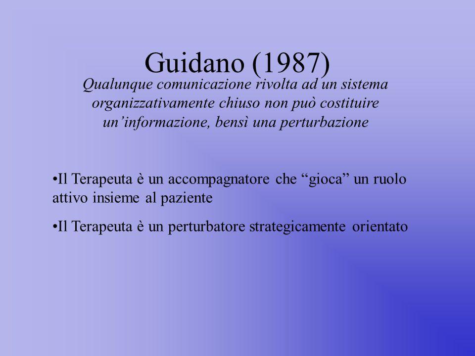 Guidano (1987) Qualunque comunicazione rivolta ad un sistema organizzativamente chiuso non può costituire un'informazione, bensì una perturbazione Il Terapeuta è un accompagnatore che gioca un ruolo attivo insieme al paziente Il Terapeuta è un perturbatore strategicamente orientato