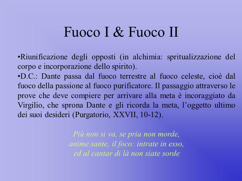 Fuoco I & Fuoco II Riunificazione degli opposti (in alchimia: spritualizzazione del corpo e incorporazione dello spirito).