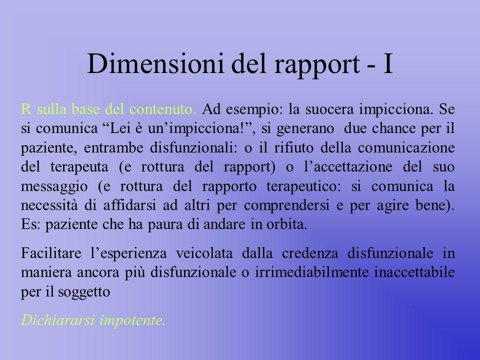 Dimensioni del rapport - I R sulla base del contenuto.